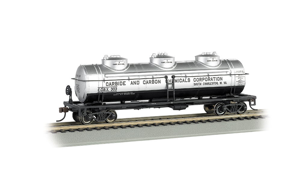 Bachmann HO 40 FT Three-Dome Tank Car - Carbide and Carbon Chemicals