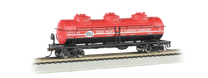 Bachmann HO 40 FT Three-Dome Tank Car - Cook Paint & Varnish Co.