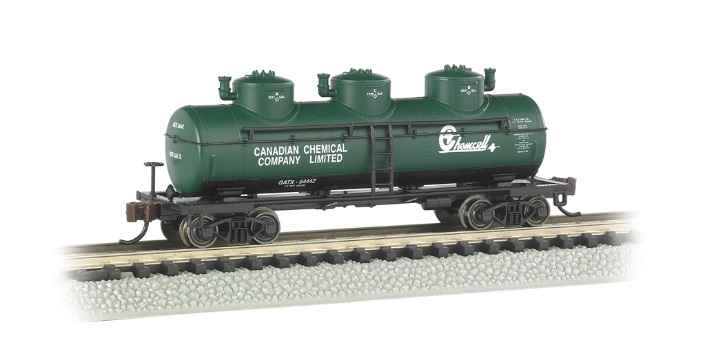 Bachmann N Three-Dome Tank Car - Chemcell