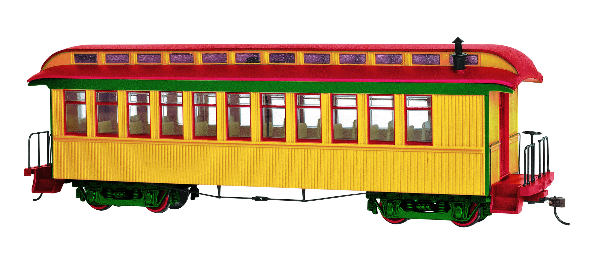 Bachmann On30 Passanger Car - Yellow & Red