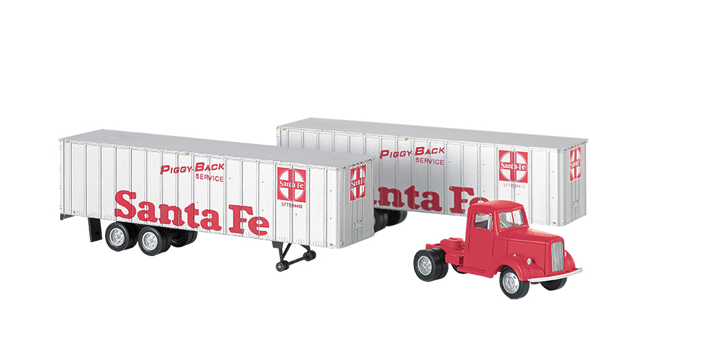 Bachmann HO Santa Fe - Red Truck Cab & 2 Piggyback Trailers