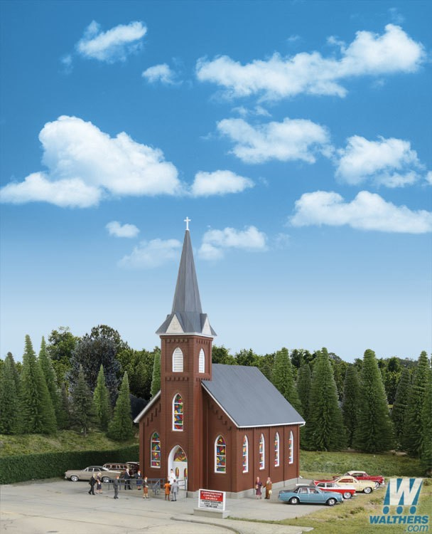 Walthers #933-3496 Brick Church - HO Scale Kit