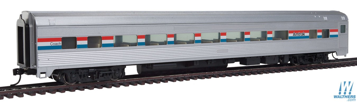 Walthers Mainline HO 85' Budd Large - Window Coach - Amtrak Phase lll
