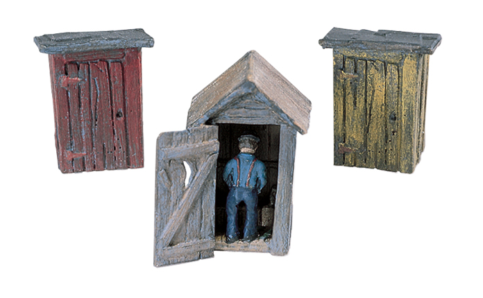 Woodland Scenics 3 Outhouses and Man - HO Scale Kit