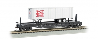 Bachmann HO 52 FT Flat Car + 35 FT Trailer - New Haven