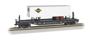 Bachmann HO 52 FT Flat Car + 35 FT Trailer - Reading